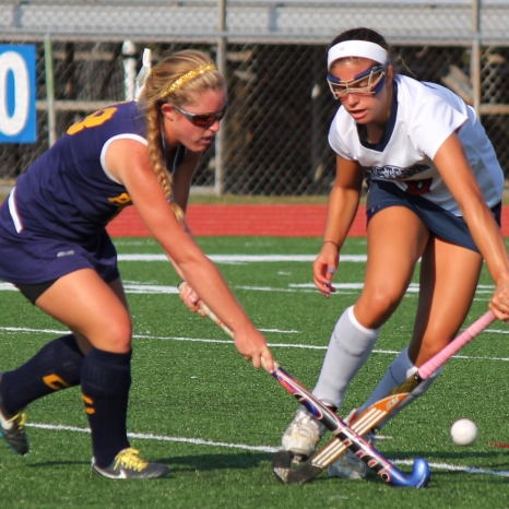 Collingswood Panther forward #18 and Eastern Viking forward #8 go after the ball in Saturday, October 5, 2013's game. Photo/Waldy Diez